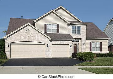 dom, trzy, wóz, garaż
