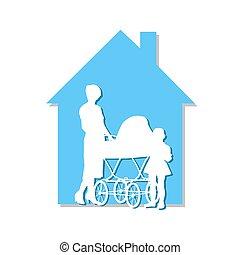 dom, wózek dziecinny