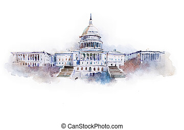 dom, waszyngton dc, akwarela, biały, rysunek