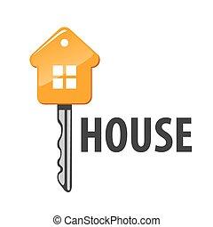 dom, wektor, klucz, kształt, logo