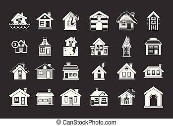 dom, wektor, komplet, szary, ikona