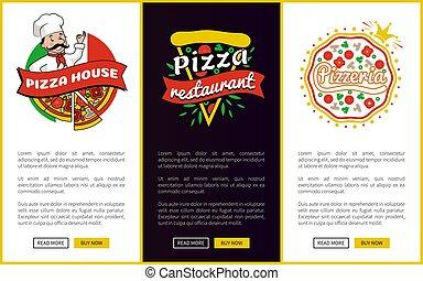 dom, wektor, pizza, ilustracja, restauracja