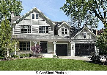 dom, wiosna, zbudowanie, nowy