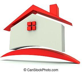 dom, wizerunek, czerwony, dach, logo