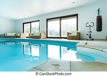 dom, wnętrze, kałuża, kosztowny, pływacki
