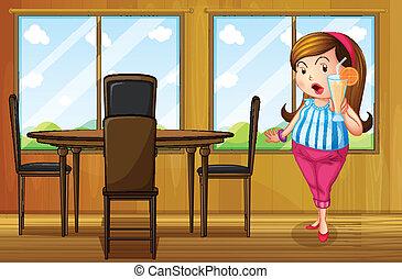 dom, wnętrze, tłuszcz, sok, dzierżawa, dziewczyna