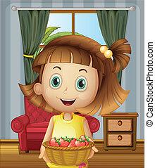 dom, wnętrze, truskawki, dzierżawa, kosz, dziewczyna