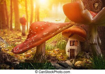dom, wróżka, grzyb
