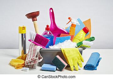 dom, wyroby, czyszczenie, tło, stos, biały