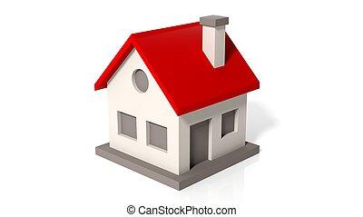 dom, wzór, biały, odizolowany, tło