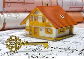 dom, wzór, odbitki światłodrukowy