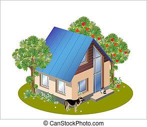 dom, wzór, rozmiary, rodzina, trzy