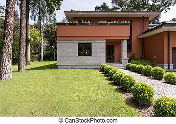 dom, z, piękny, ogród