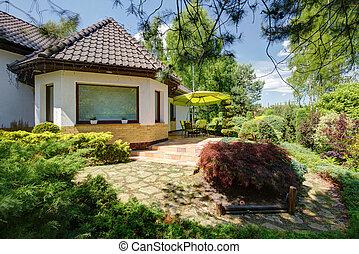 dom, z, podwórze, ogród