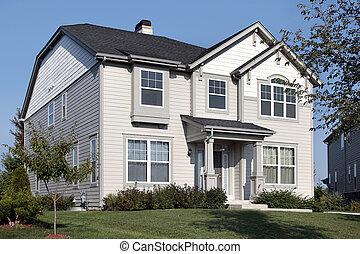 dom, z, szary, i, biały, bocznica