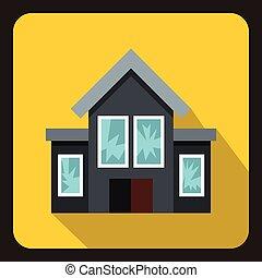dom, z, złamany, okna, ikona, płaski, styl