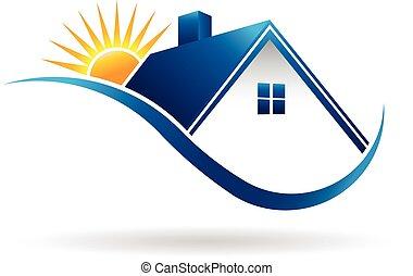 dom, zachód słońca, logo