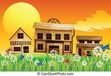 dom, zachód słońca, prospekt