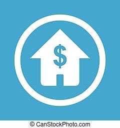 dom, znak, dolar, ikona