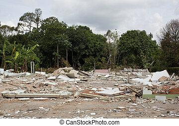 dom, zniszczenie