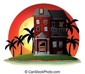 dom, zrujnowany, wyspa