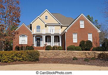 dom, zwyczaj, budowany, nowy