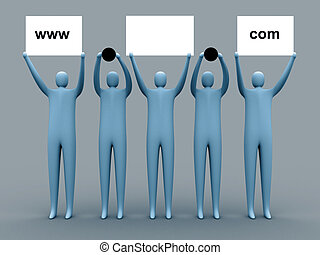 Domain advertising - 3d people holding an empty template of...