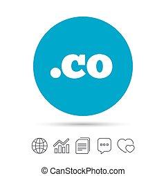 Domain CO sign icon. Top-level internet domain. - Domain CO...