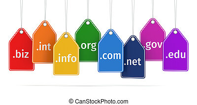 Domain concept. Labels on white isolated background. 3d
