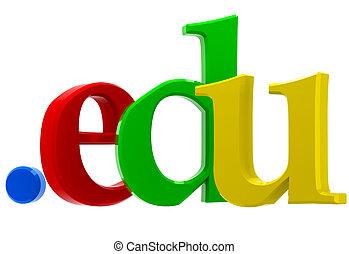 Domain edu - Colorful 3D text with top-level domain edu