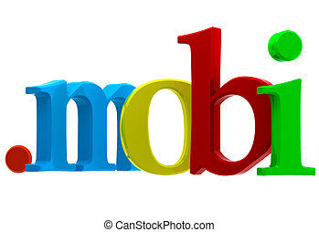 Domain mobi - Colorful 3D text with top-level domain mobi