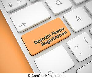 Domain Name Registration - Text on Orange Keyboard Key. 3D.