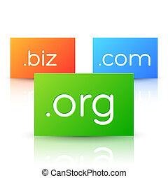 Domain Names on Colorful Paper Cards