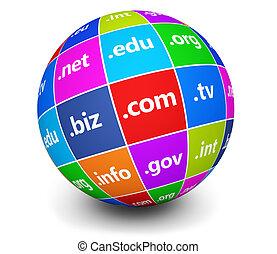 Domain Names Sign Web Globe - Website and Internet domain...
