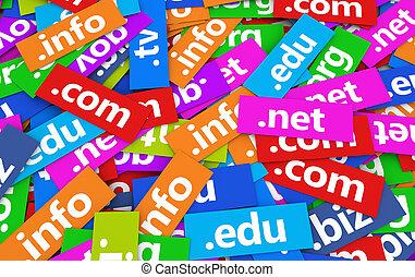 Domain Names Web Concept - Web and Internet domain names...