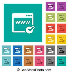 Domain registration square flat multi colored icons