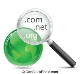 Domain search vector icon. .com .net .org domain finder