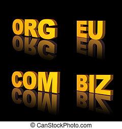 domains - golden domains, com, eu, org, biz - 3d...