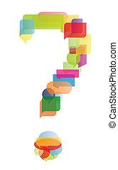 domanda, bolle, vettore, discorso, marchio