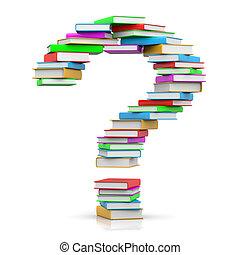 domanda, libri, mucchio, marchio