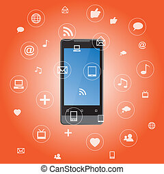 domanda, media, smartphone, icone
