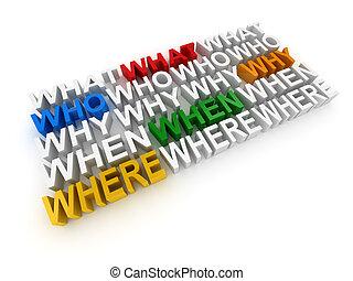 domanda, parole, cosa, dove, perché, quando, chi