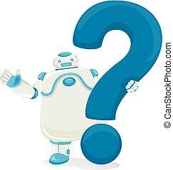 domanda, robot, illustrazione, marchio
