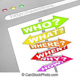domanda, segni, linea, -, web, schermo, chi, cosa, dove