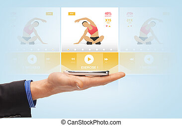 domanda, smartphone, maschio, sport, mano
