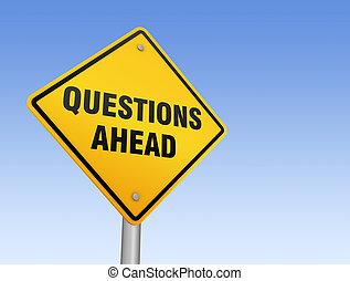 domande, avanti, segno strada