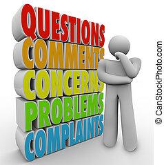 domande, pensare, comments, persona, preoccupazioni, parole