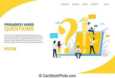 domande, vettore, sagoma, disegno, sito web, frequently, chiesto, pagina, atterraggio