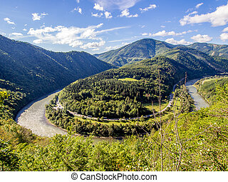 Domasinsky meander - nature monument on the Vah river in...