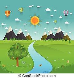 dombok, megfog, át, folyó, folyó, hegyek
